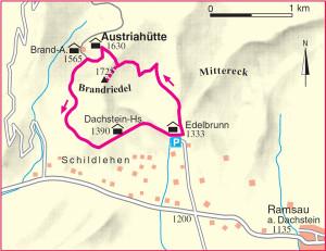 Austriahuette Wanderkarte